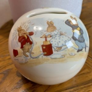 Vintage Bunnykins Round China Piggy Bank